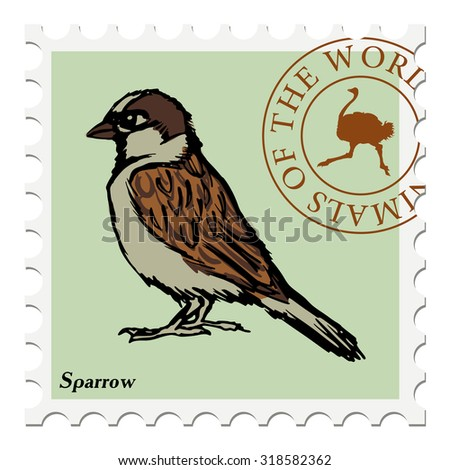 vector, post stamp with sparrow - stock vector