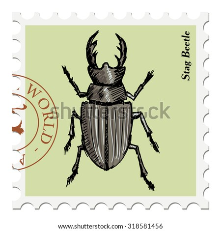 vector, post stamp with stag beetle - stock vector