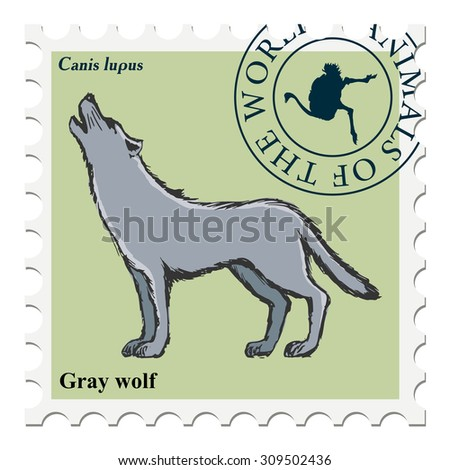 vector, post stamp with wolf - stock vector