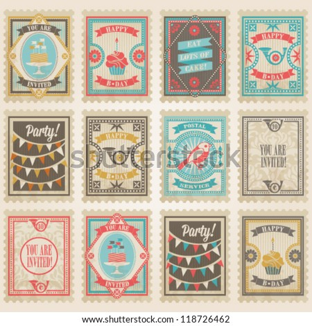 Vector postage stamps set. Birthday collection