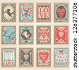 Vector postage stamps set. Valentine's day collection no.2 - stock photo