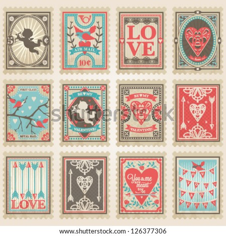 Vector postage stamps set. Valentine's day collection no.2 - stock vector