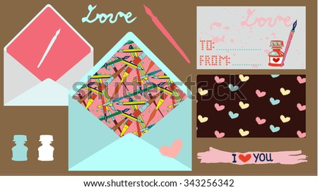 Vector Postal Collection. Envelopes and Postcards Set. - stock vector