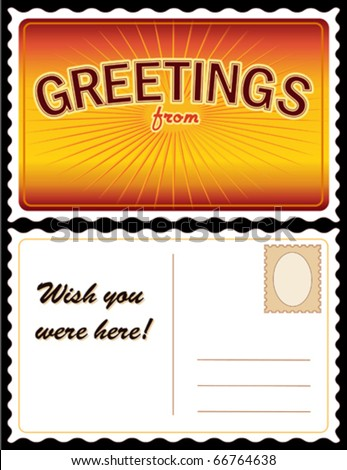"""vector - POSTCARD: Add Location.  Full size 8.5"""" x 5.5"""", gold. Front: """"Greetings from..."""" add your own text or art. Back: copy space for message & address. EPS8 organized in groups for easy editing. - stock vector"""