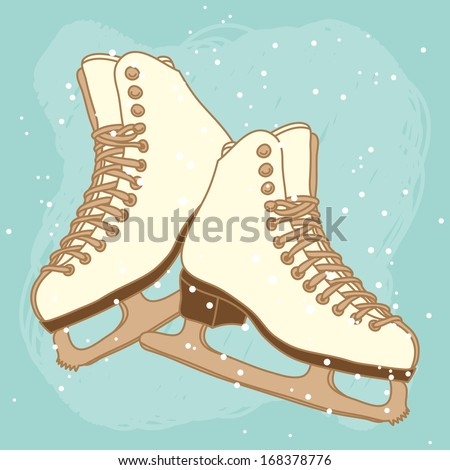 Vector postcard design with ice skates - stock vector