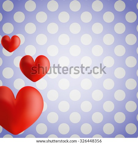Vector postcard for Valentine's day. Three expressive heart peep from the left edge of the picture in the white and blue retro background with white polka dots. All isolated. - stock vector