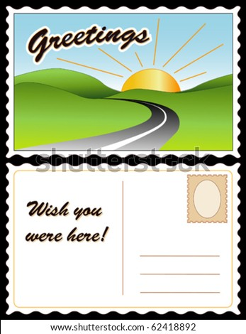 "vector - POSTCARD, Greetings, Wish You Were Here!  Full size postcard, front & back (8.5""x5.5"") travel landscape, copy space. EPS8 organized in groups for easy editing. - stock vector"