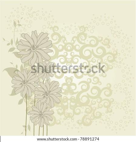 Vector postcard wih bouquet of flower - stock vector