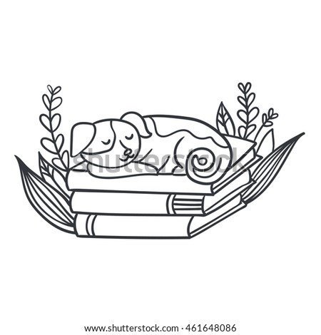Vector postcard with adorable sleepy puppy, books and plants
