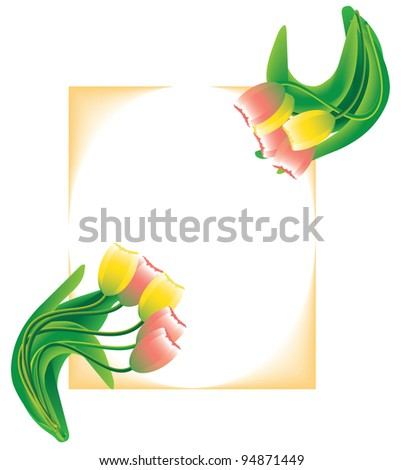 Vector postcard with yellow and pink tulips on frame background