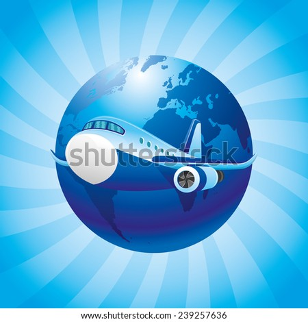 Vector poster. Aircraft. - stock vector