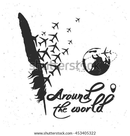 Vector Poster Around World Planet Map Stock Vector - World map silhouette poster