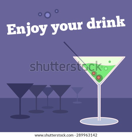 Vector poster, banner with goblet of martini and olives