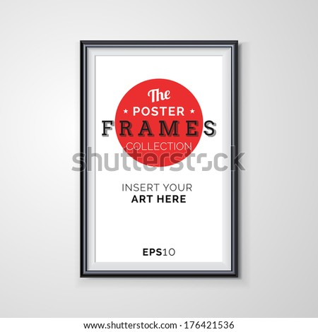 Vector poster frame with transparent shadows. - stock vector