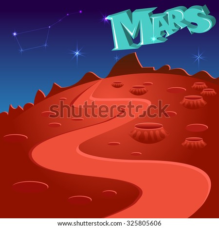 Vector poster of the red planet Mars. Martian landscape. Welcome to Mars. - stock vector
