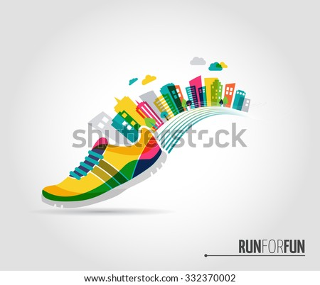 Vector poster - running, sport shoe and the city - stock vector