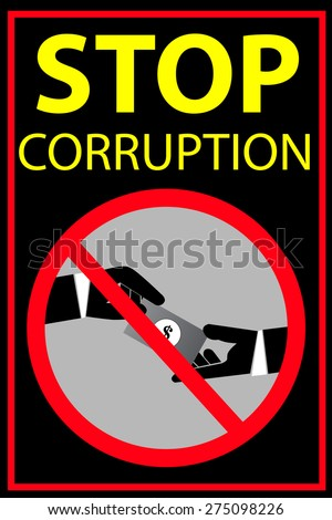 Vector poster Stop Corruption   - stock vector