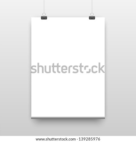 Vector poster template of a paper sheet - stock vector