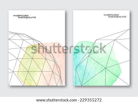 Vector poster templates set. Hand drawn Watercolor stain background with line style platonic solids. Abstract background for card, brochure, banner design.  - stock vector