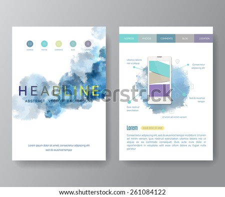 Vector Poster Templates with Watercolor Paint Splash. Abstract Aquarelle Background for Business Flyers, Posters and Placards. Mobile Technologies Concept. Flat Style Web and Infographic Icons. - stock vector