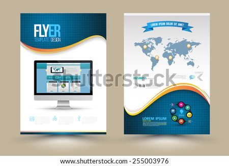 Vector Poster Templates with website on computer. Template  for Business Documents, Flyers and Placards. Computer Technologies, Communication and Online Services Infographic Concept. - stock vector