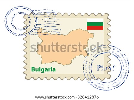 Vector postmark with map of Bulgaria Including: flag of Bulgaria. - stock vector