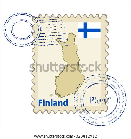 Vector postmark with map of Finland Including: flag of Finland. - stock vector