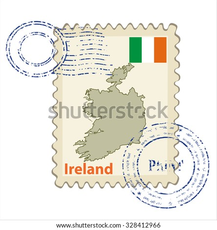 Vector postmark with map of Ireland Including: flag of Ireland. - stock vector
