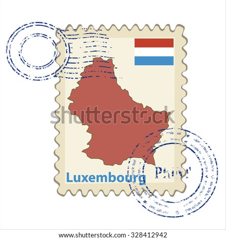 Vector postmark with map of Luxembourg Including: flag of Luxembourg . - stock vector