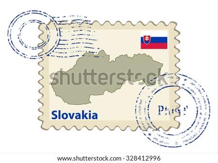 Vector postmark with map of Slovakia Including: flag of Slovakia. - stock vector