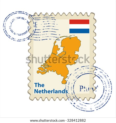Vector postmark with map of the Netherlands Including: flag of the Netherlands. - stock vector