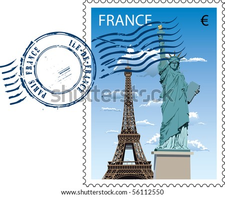 Vector postmark with sight of eiffel tower and Statue of Liberty - stock vector