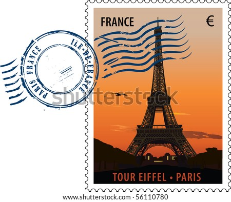 Vector postmark with sight of eiffel tower at sunset - stock vector