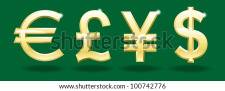 Vector pound, euro, yen, dollar. character set currency. File is saved in AI10 EPS version. This illustration contains a transparency - stock vector