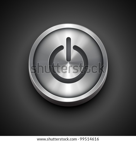 vector power metallic icon isolated on dark background - stock vector
