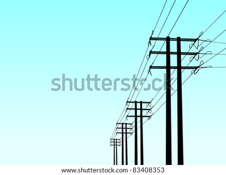 vector power poles - stock vector