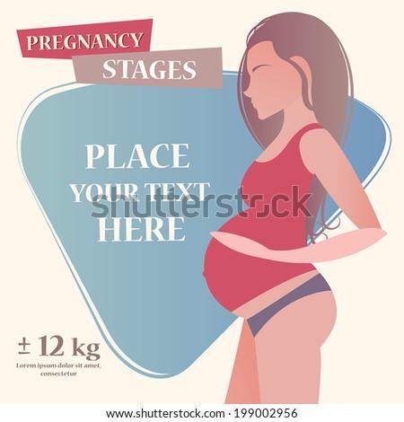 Vector pregnancy illustration for your design - stock vector