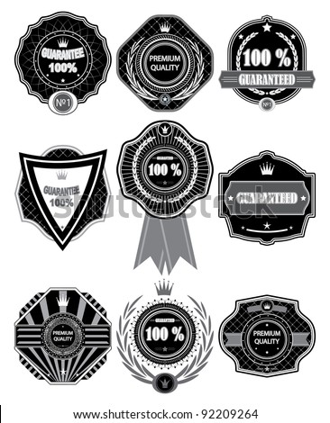 Vector  Premium Quality Labels with retro design. - stock vector