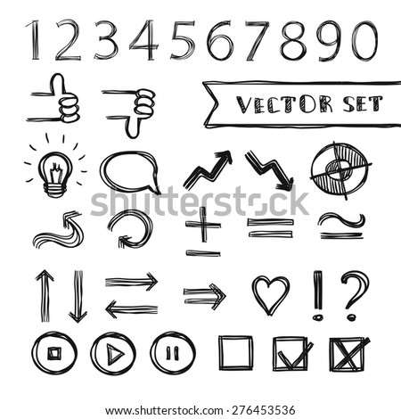 Vector presentation elements set, hand-drawn, black and white - stock vector