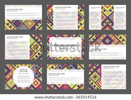 Vector presentation template. 9 pages vector presentation project. Concept of 9 vector layouts for presentation. 9 slides with abstract geometric design. - stock vector