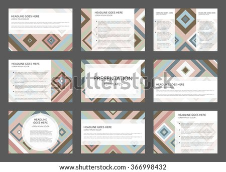 Vector presentation template. 9 pages vector presentation project. 9 slides with abstract geometric design. Concept of 9 vector layouts for presentation. - stock vector