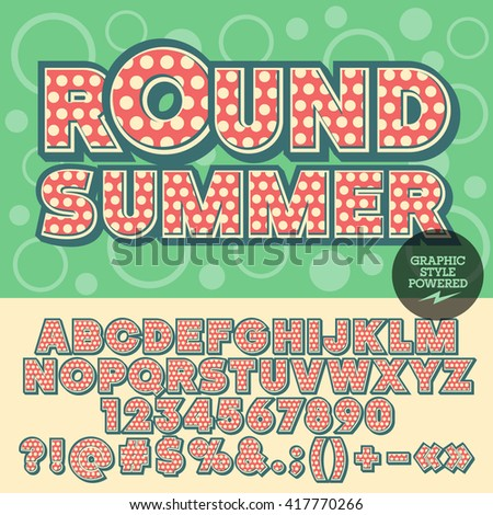 Vector pretty spotted alphabet. Nice card with text Round summer with circles on background. Set of numbers, symbols and letters with yellow dots - stock vector