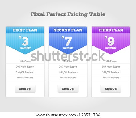 Vector Price table for commercial web services - stock vector