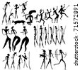 vector primitive figures looks like cave painting - stock photo