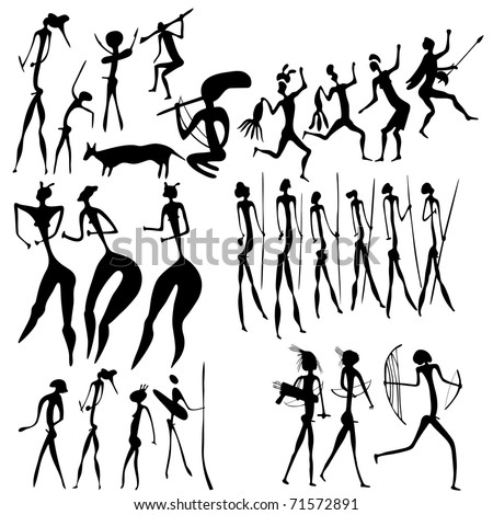 vector primitive figures looks like cave painting - stock vector