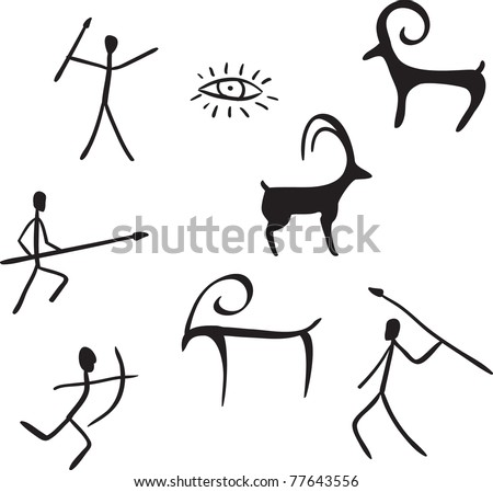 vector primitive figures looks like cave painting vector illustration - stock vector