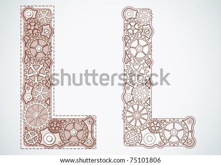 Vector print alphabet of gears. Letter l - stock vector