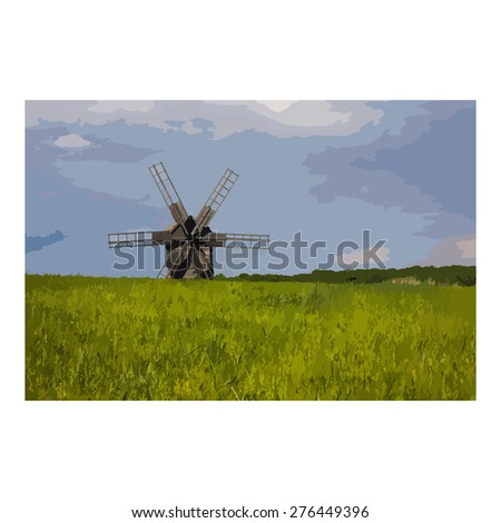 Vector. Print. Backgrounds. Picture. Postcard. Wooden windmill against the sky with clouds. In the foreground, wheat germ and grass.