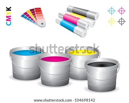 Vector print shop icon set - cmyk - stock vector