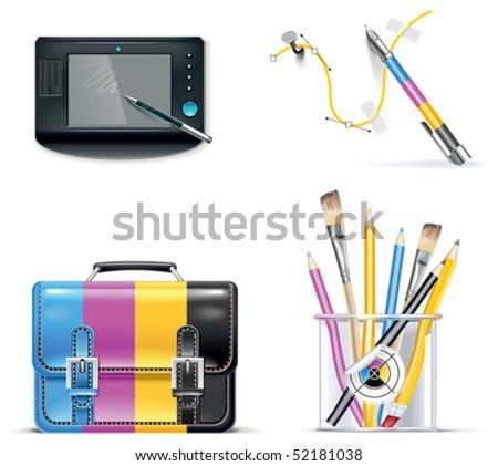 Vector print shop icon set. Part 3 - stock vector